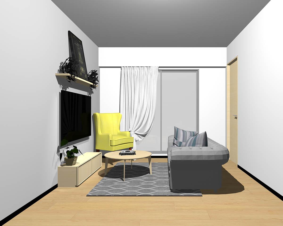 ナチュラルブラウンのフローリング、ナチュラルブラウンの木製家具とグレー×イエローの組み合わせ