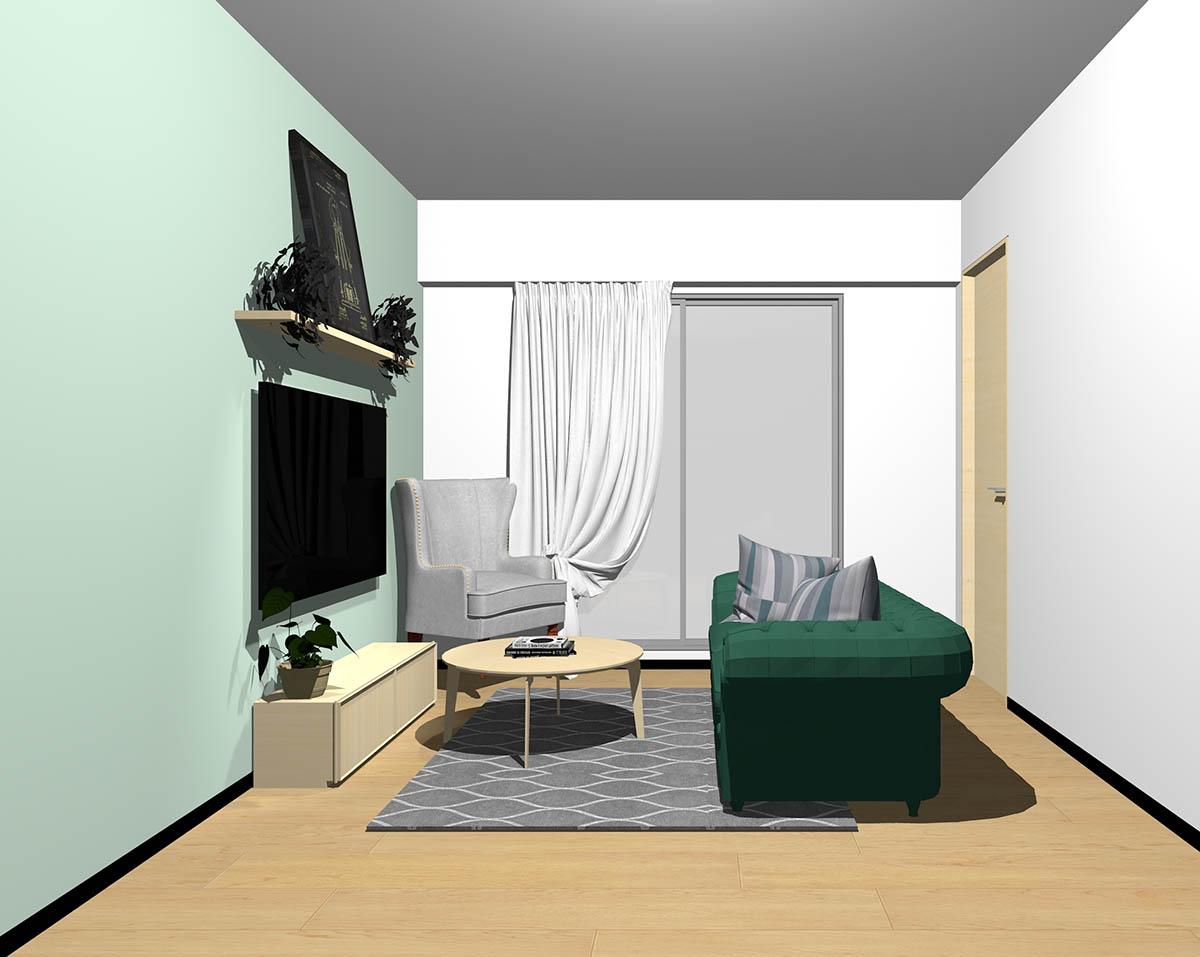 ナチュラルブラウンのフローリング、ナチュラルブラウンの木製家具とグリーン×グレーの組み合わせ