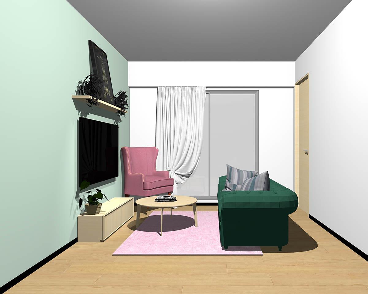 ナチュラルブラウンのフローリング、ナチュラルブラウンの木製家具とグリーン×ピンクの組み合わせ