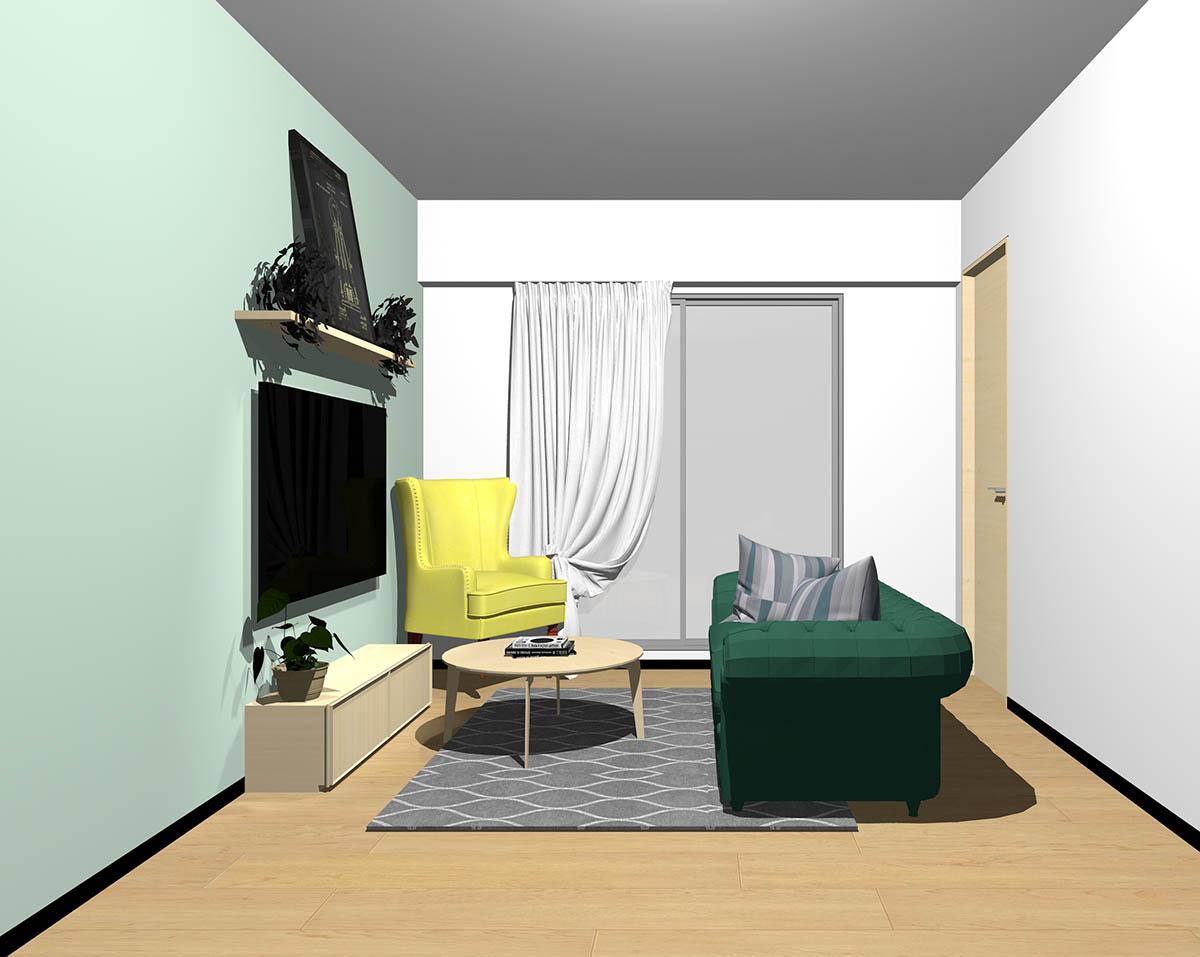 ナチュラルブラウンのフローリング、ナチュラルブラウンの木製家具とグリーン×イエローの組み合わせ