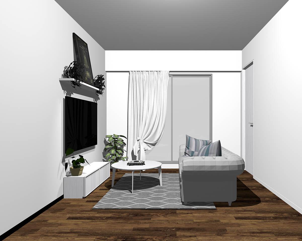 ダークブラウン系のフローリングとホワイトの木製家具をコーディネートしたリビング