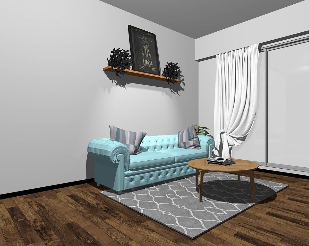 水色のソファとグレーの壁紙のインテリア