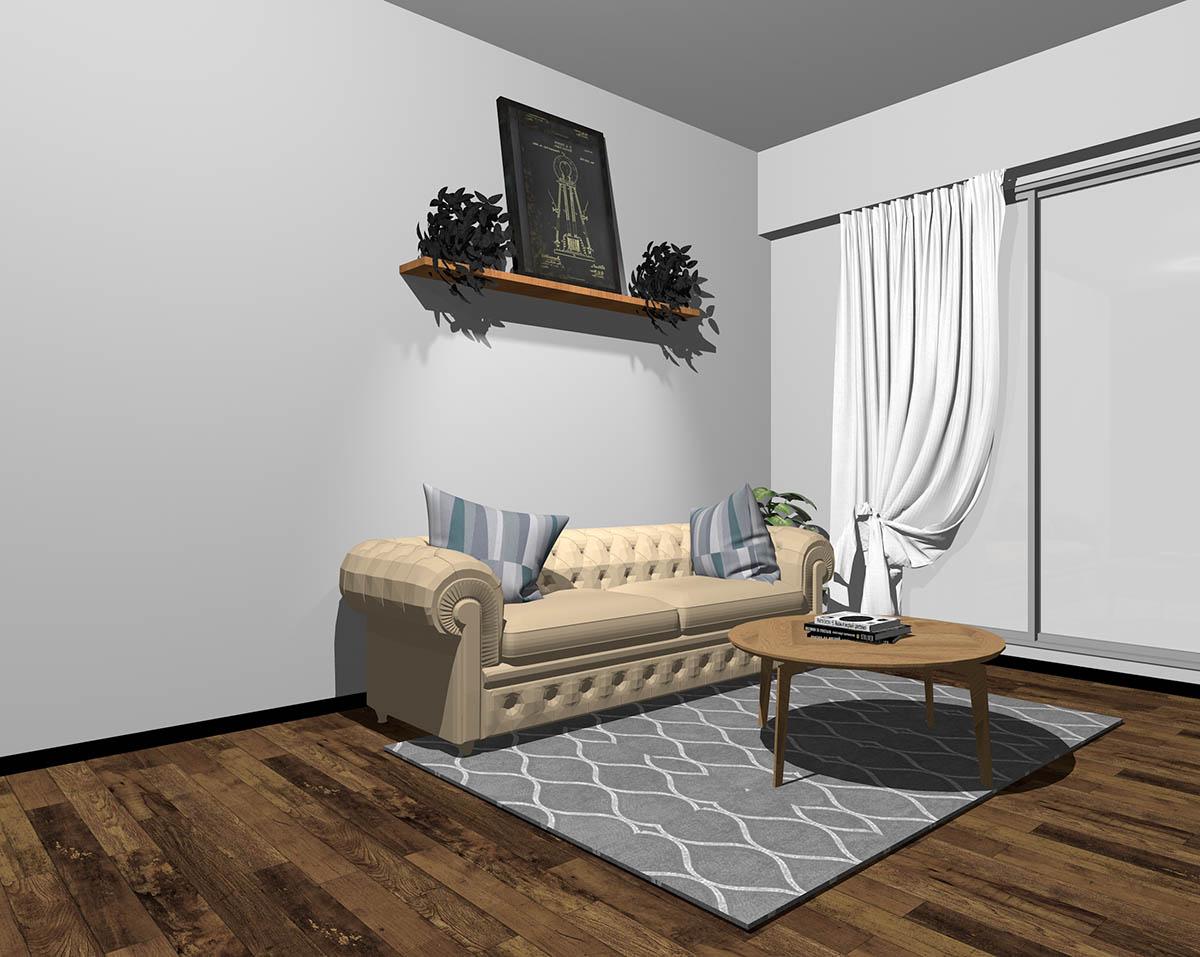 ベージュのソファとグレーの壁紙のインテリア