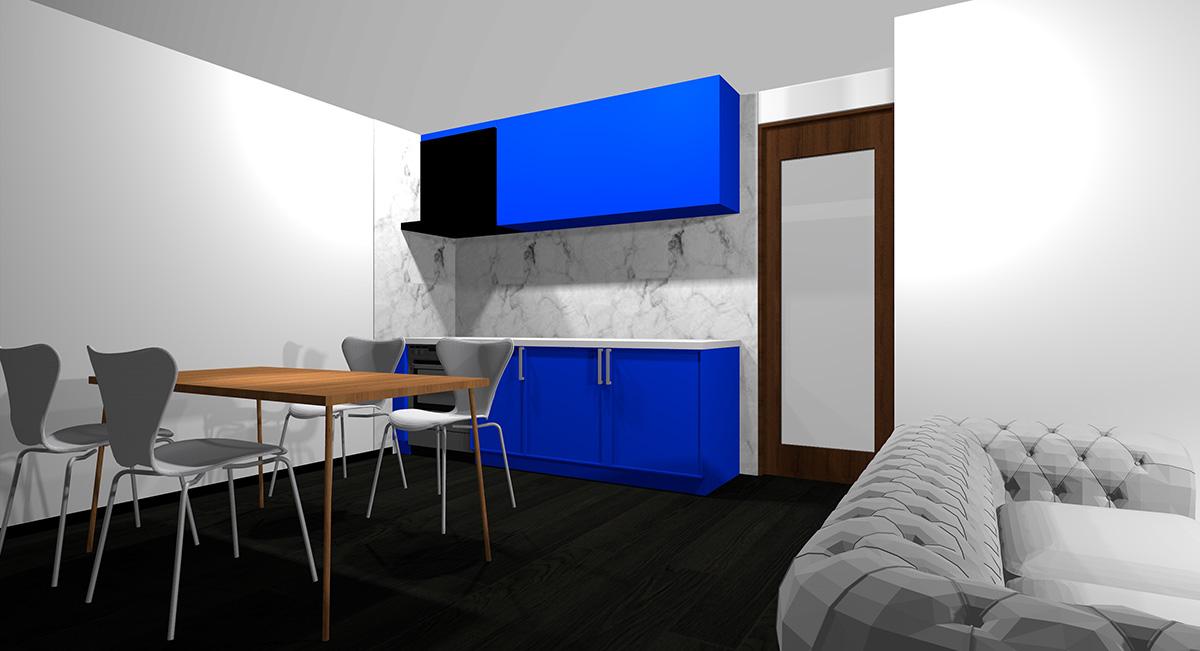 鮮やかな青のキッチンとブラック系の床のイメージパース