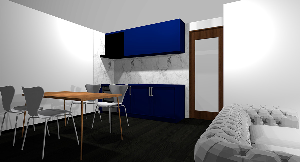 暗い青のキッチンとブラックの床のイメージパース