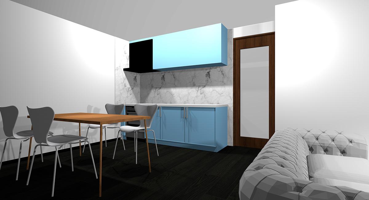薄い青のキッチンとブラック系の床のイメージパース