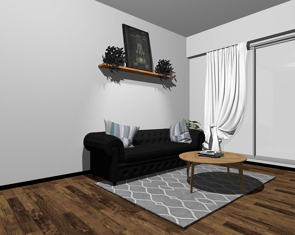ブラックのソファとグレーの壁紙のインテリア