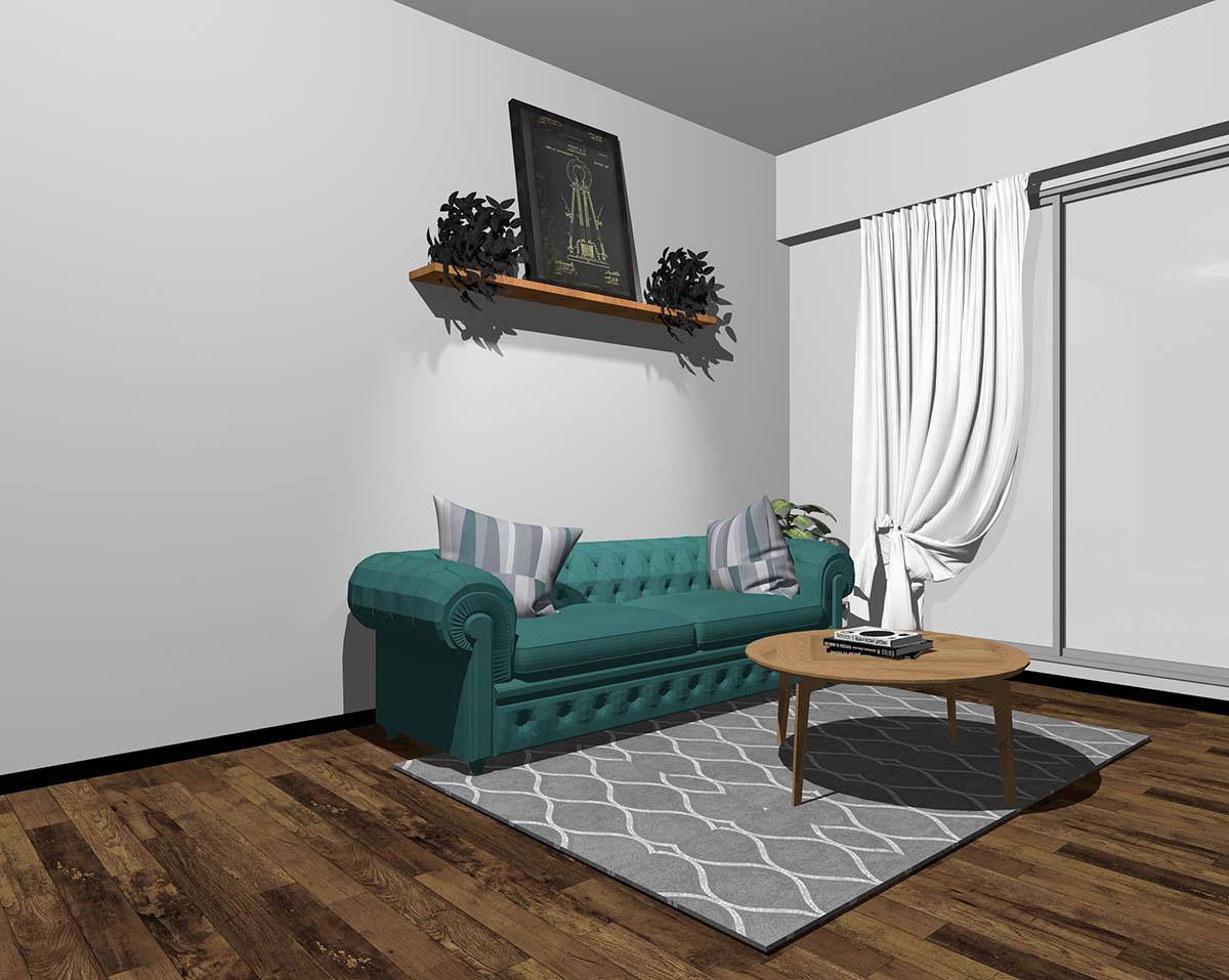 青緑のソファとグレーの壁紙のインテリア