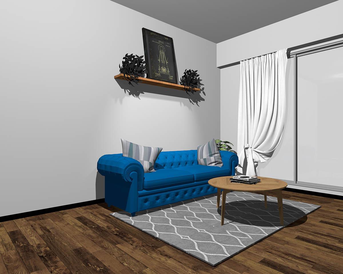 ブルーのソファとグレーの壁紙のインテリア