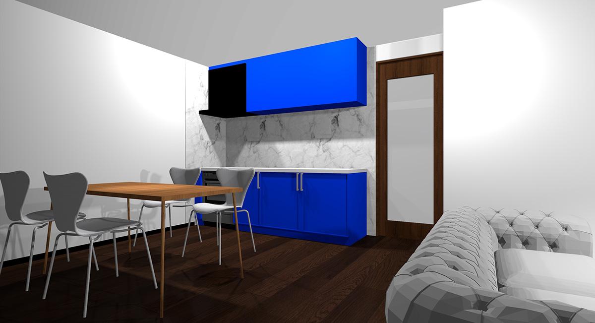 鮮やかな青のキッチンとダークブラウン系の床のイメージパース