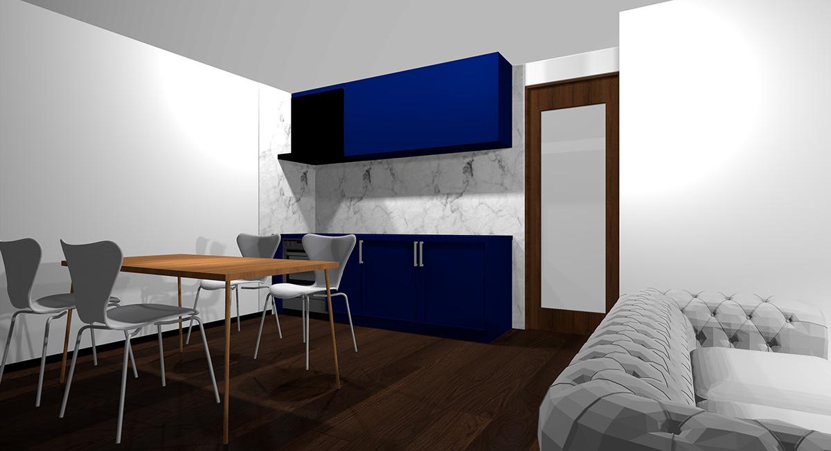 暗い青のキッチンとダークブラウン系の床のイメージパース