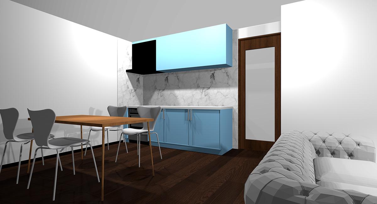 薄い青のキッチンとダークブラウン系の床のイメージパース
