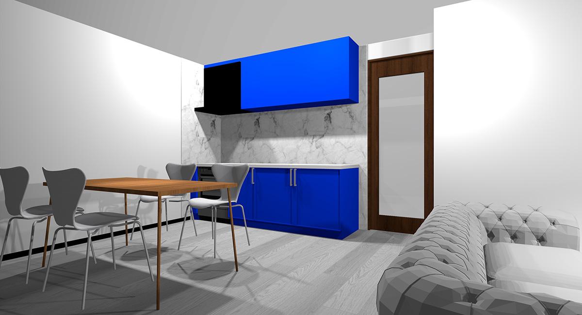 鮮やかな青のキッチンとグレー系の床のイメージパース