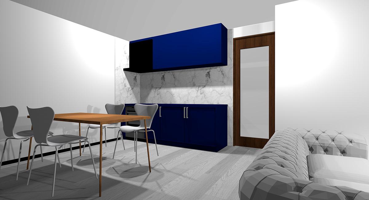 暗い青のキッチンとグレーの床のイメージパース