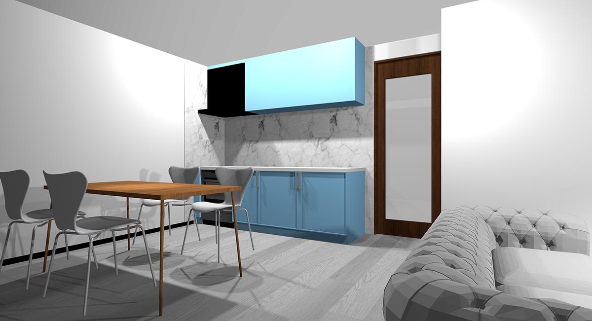 薄い青のキッチンとグレー系の床のイメージパース