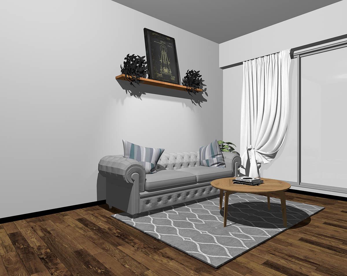 グレーのソファとグレーの壁紙のインテリア