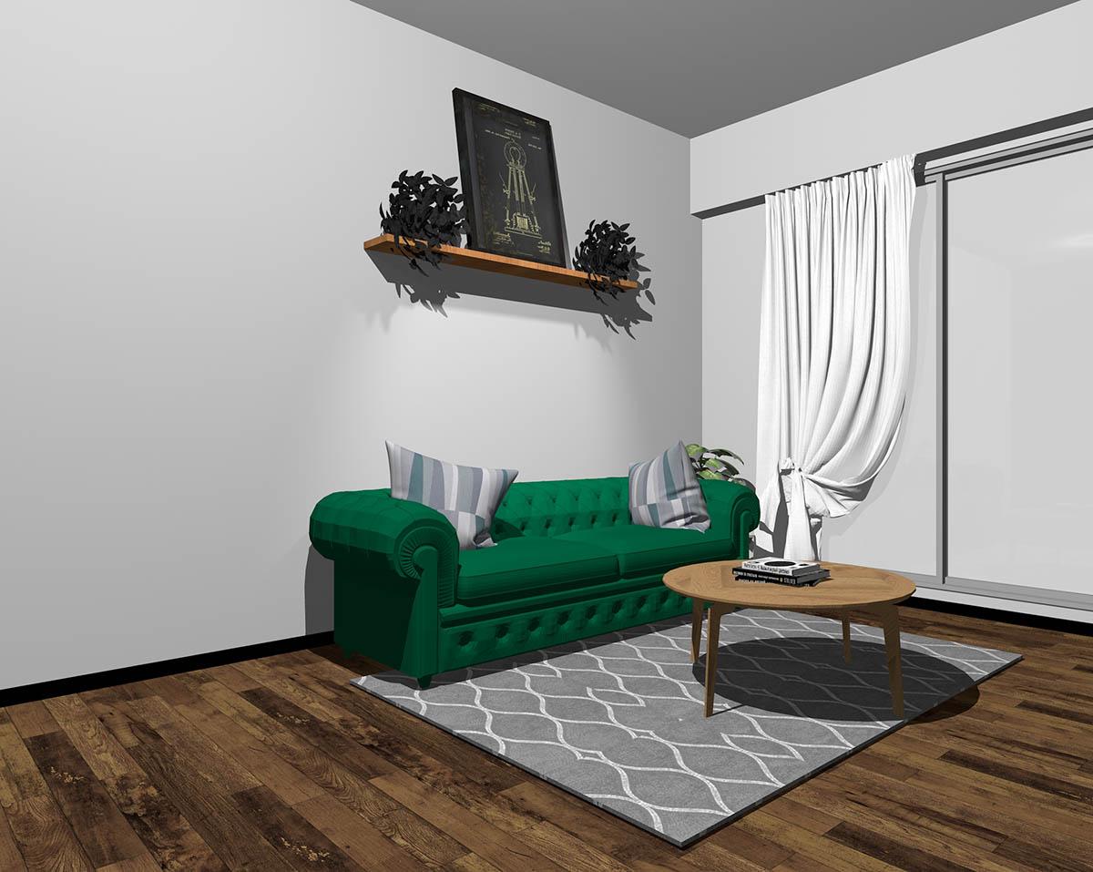 緑のソファとグレーの壁紙のインテリア