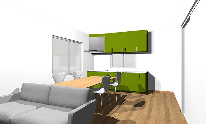 黄緑のキッチン