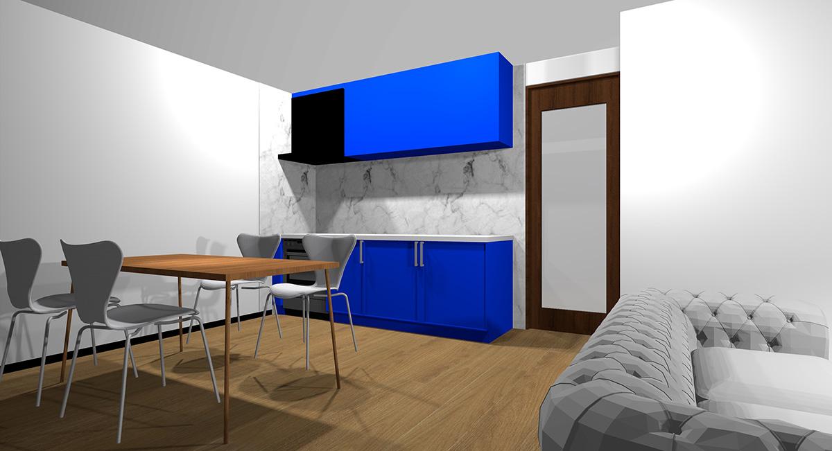 鮮やかな青のキッチンとミディアムブラウン系の床のイメージパース