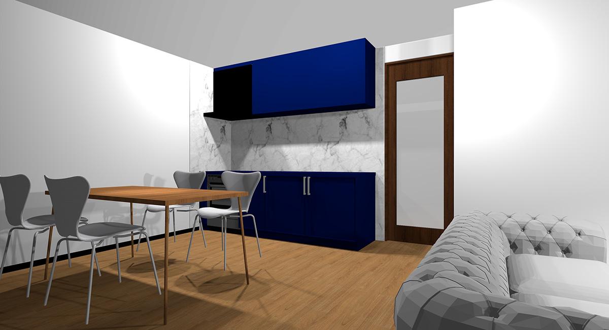 暗い青のキッチンとミディアムブラウン系の床のイメージパース