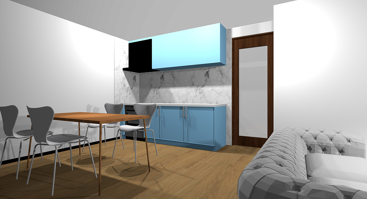 薄い青のキッチンとミディアムブラウン系の床のイメージパース