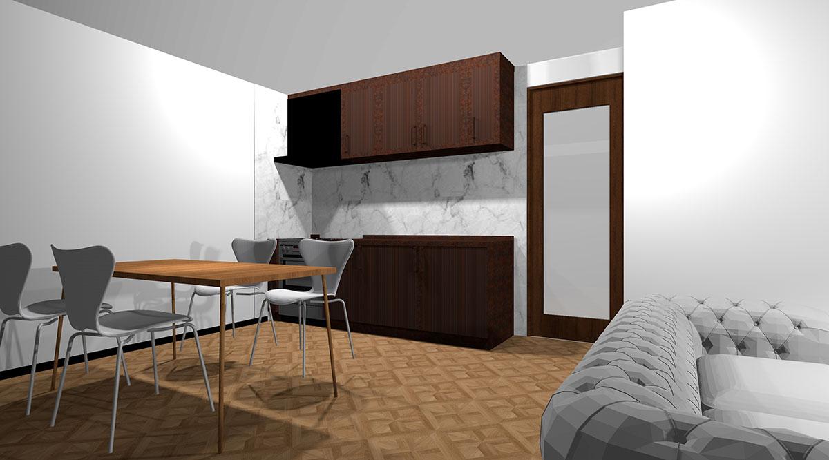 ブラウン系のメタル扉のキッチンとホワイト×グレーの大理石調パネルを組み合わせたキッチン