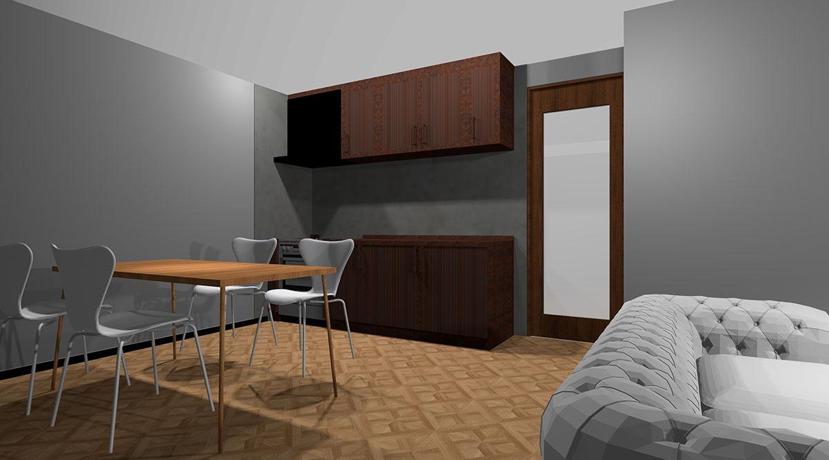 ブラウン系のメタル扉のキッチンとコンクリート調の壁パネルを組み合わせたキッチン
