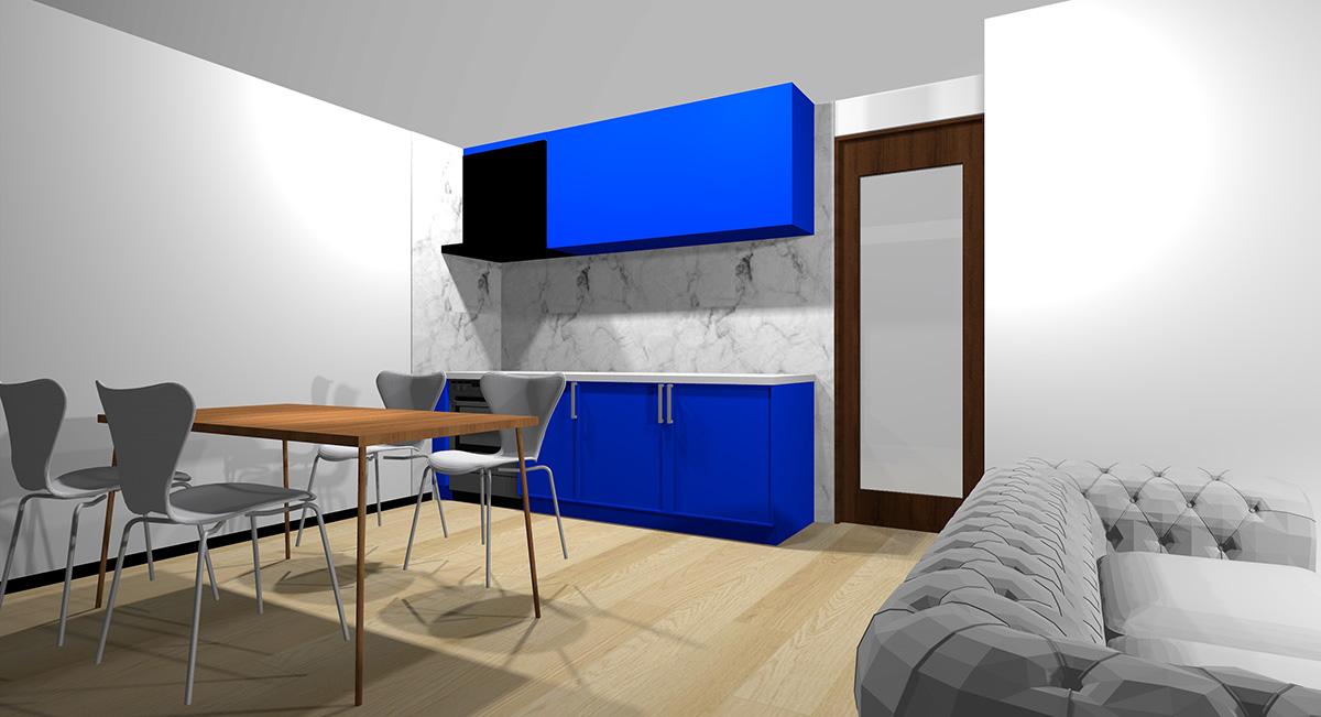 鮮やかな青のキッチンとナチュラルブラウン系の床のイメージパース