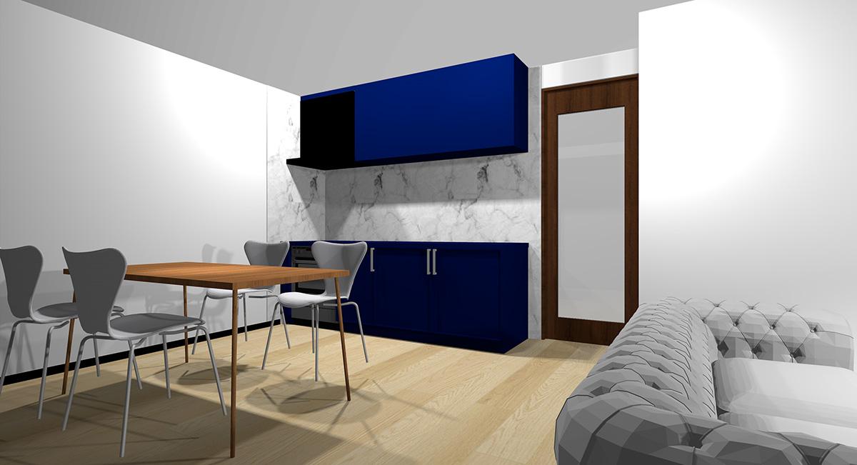 暗い青のキッチンとナチュラルブラウン系の床のイメージパース