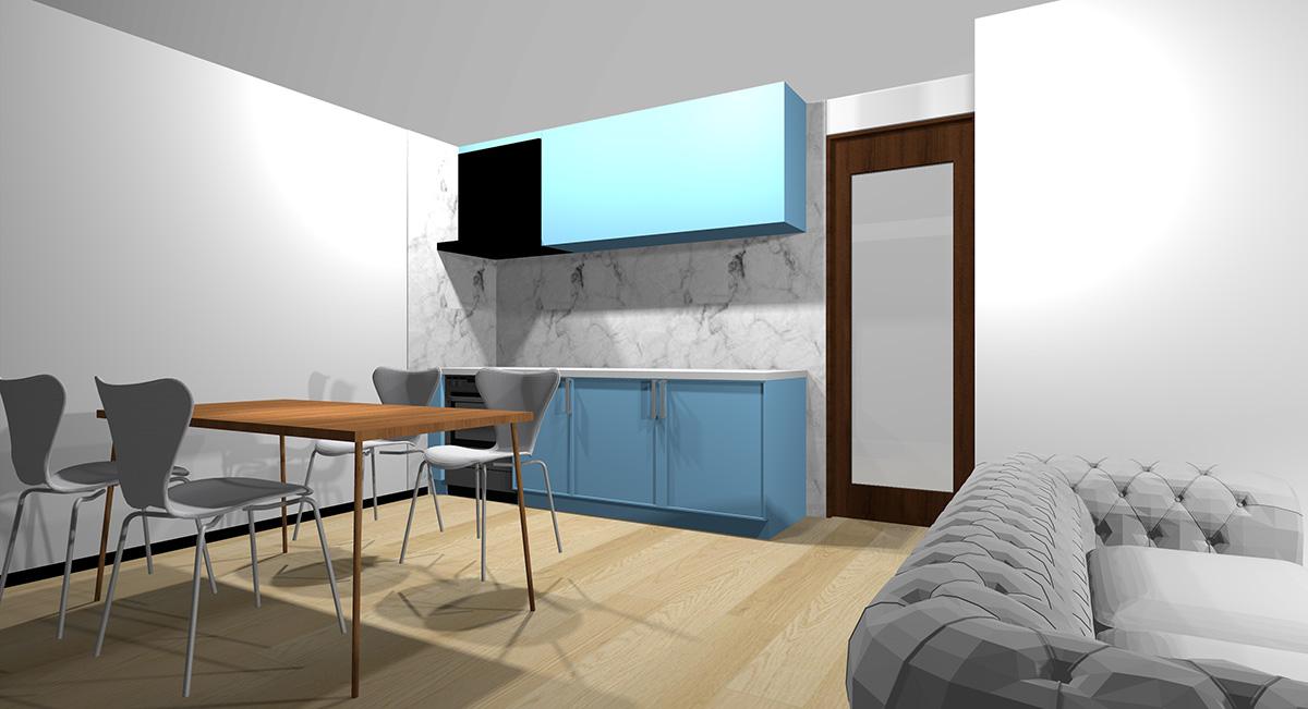 薄い青のキッチンとナチュラルブラウン系の床のイメージパース