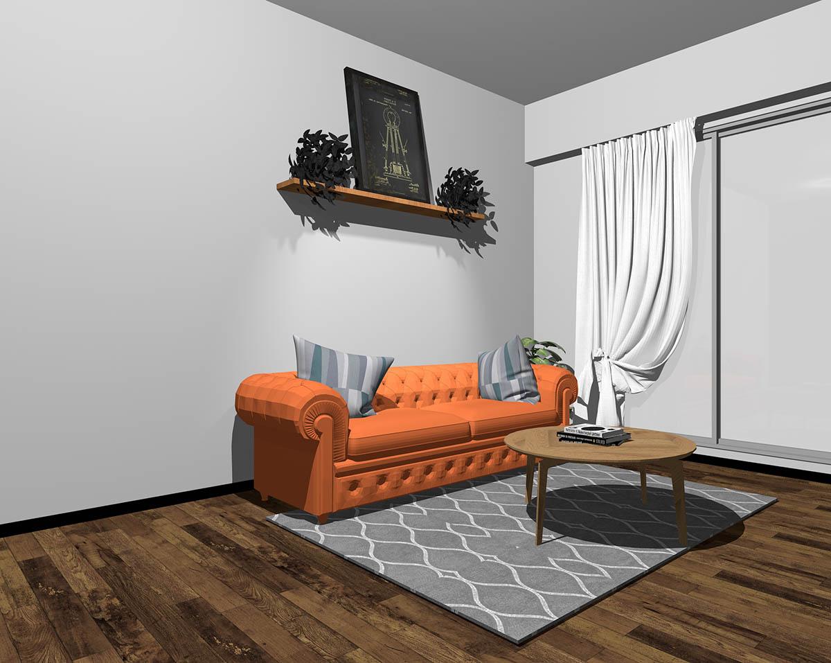 オレンジのソファとグレーの壁紙のインテリア