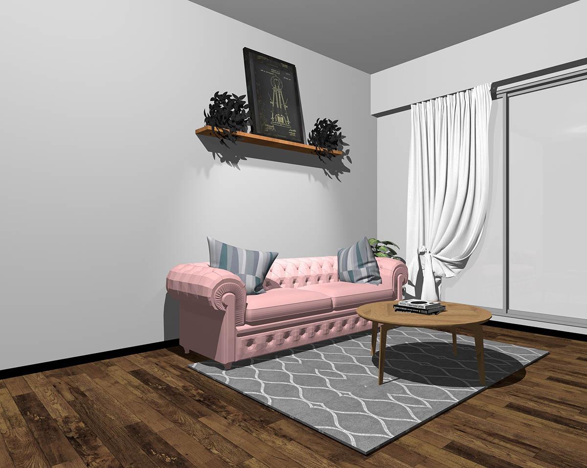 ピンクのソファとグレーの壁紙のインテリア