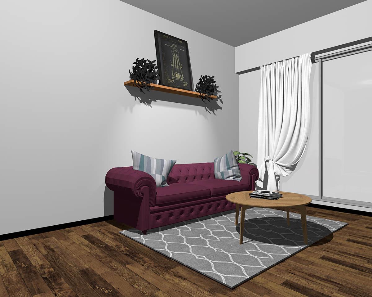 パープルのソファとグレーの壁紙のインテリア