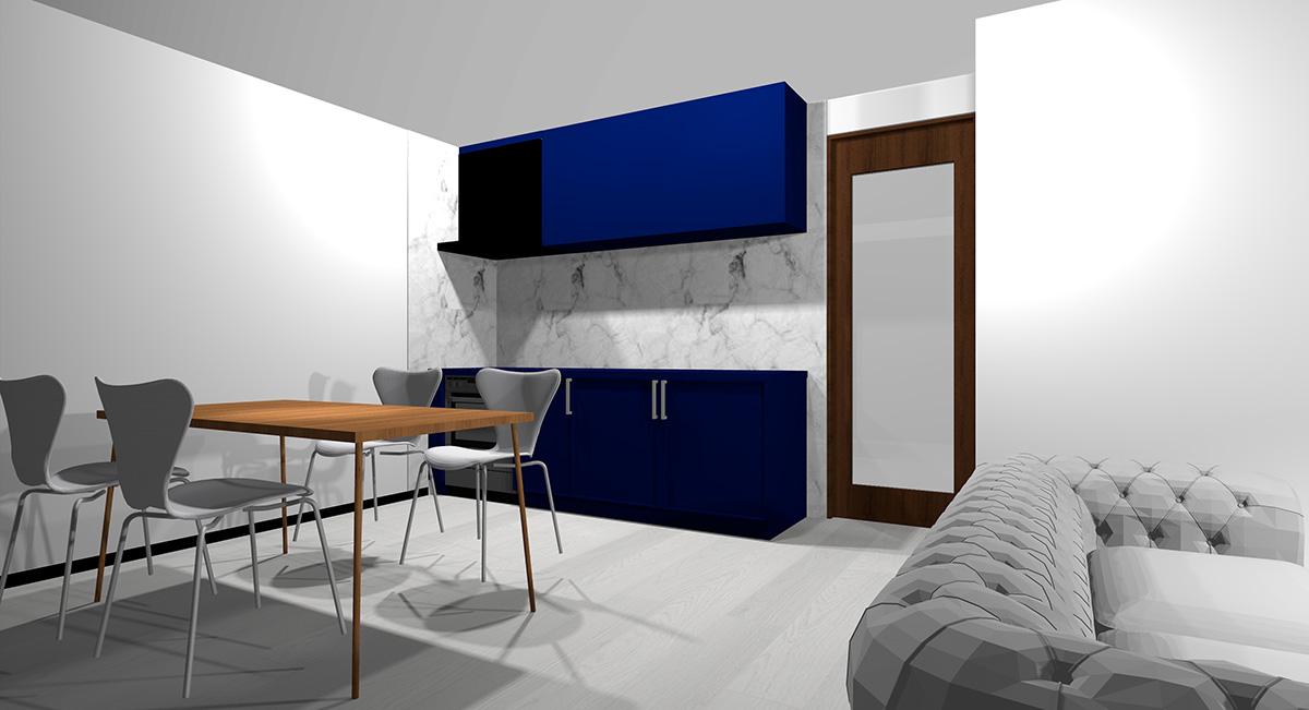 暗い青のキッチンとホワイトの床のイメージパース