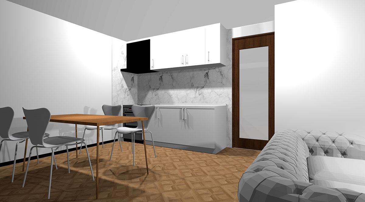 ホワイト鏡面扉のシンプルなキッチン