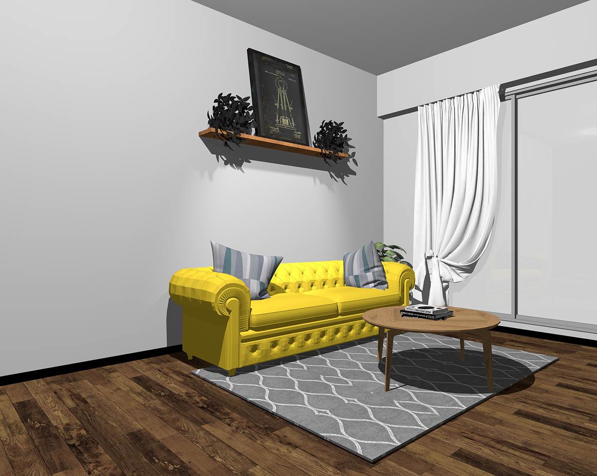 イエローのソファとグレーの壁紙のインテリア