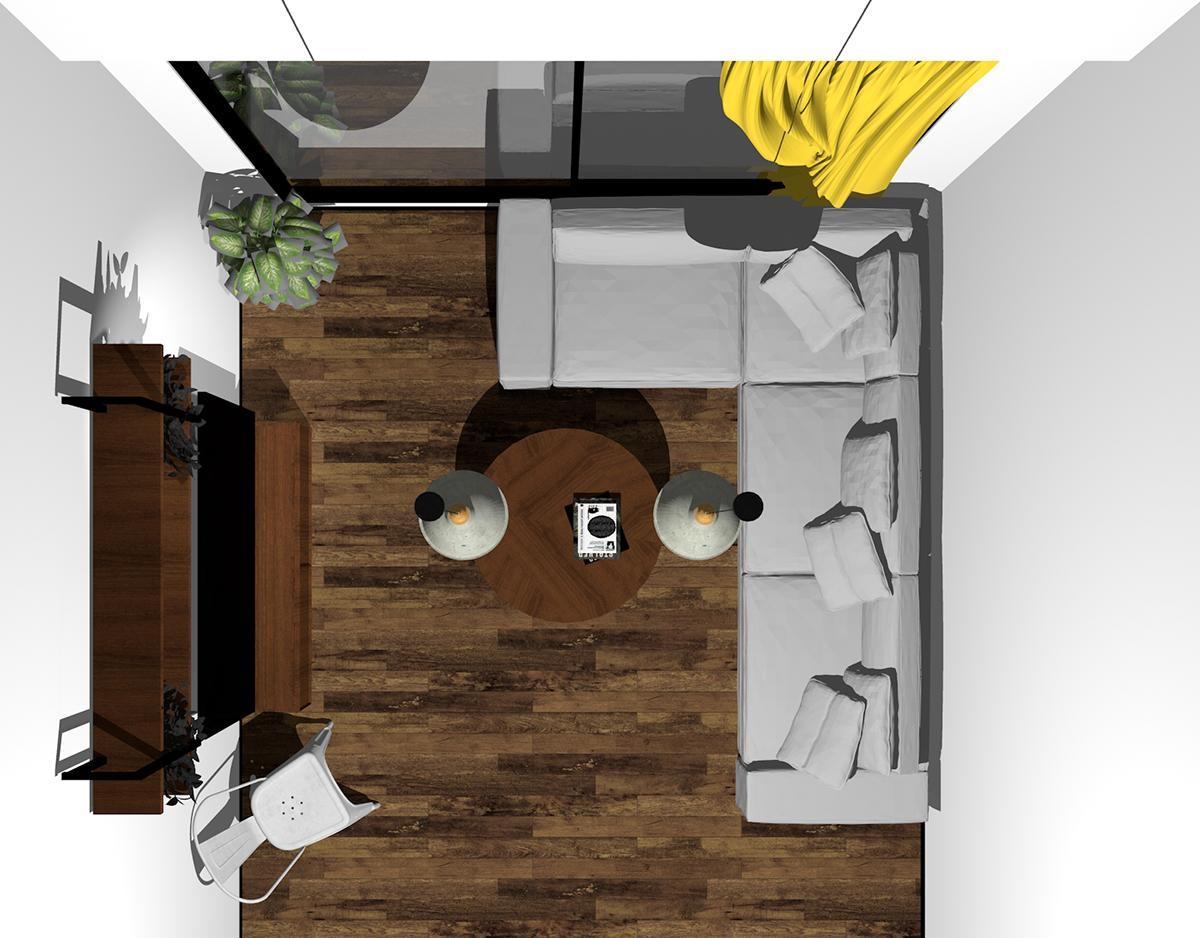 掃き出し窓(テラス窓)の前にコーナーソファ(上から)