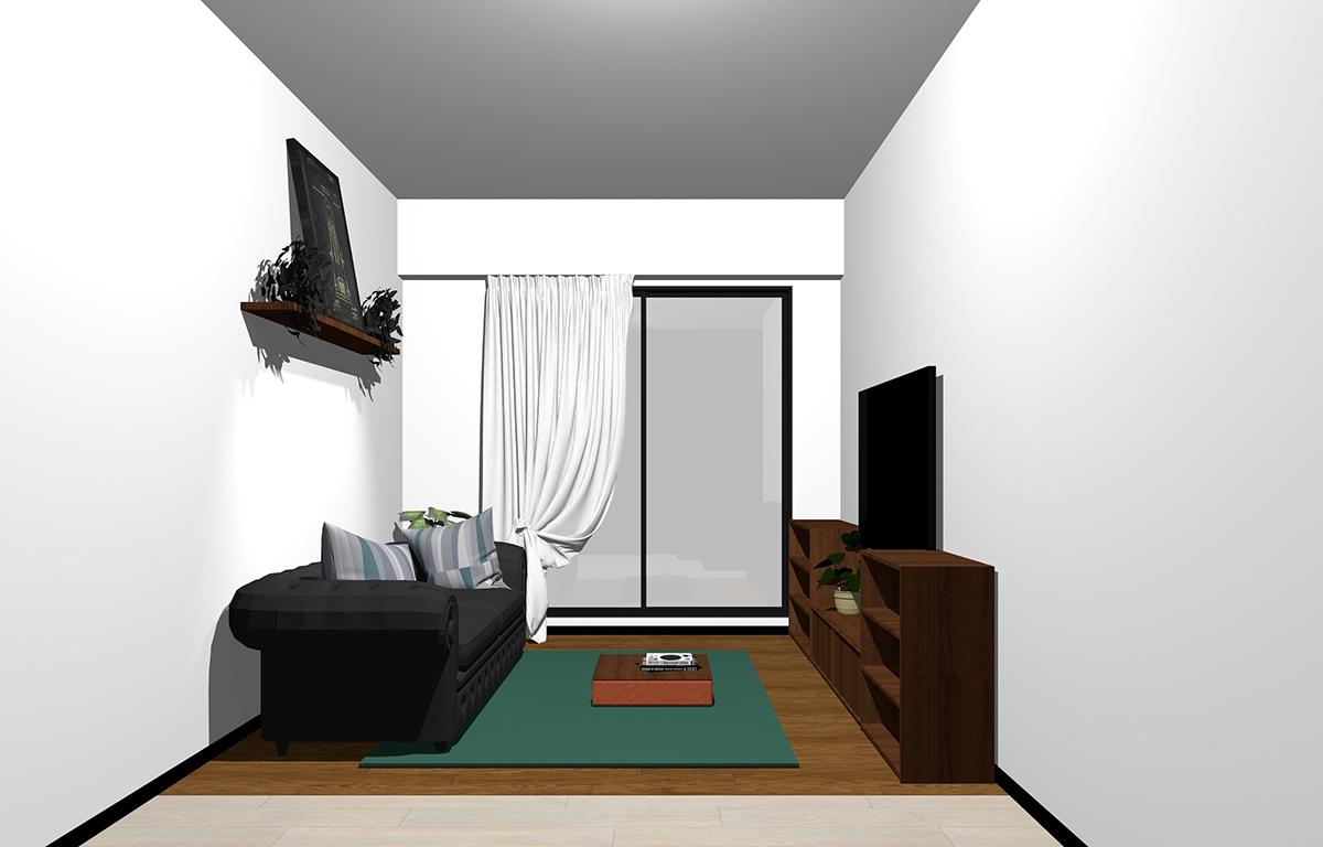 背の低い家具のコーディネート