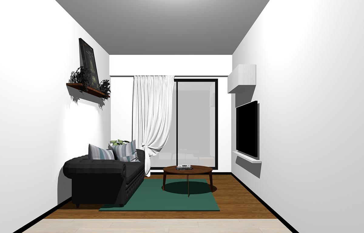 壁面を活用した家具レイアウト