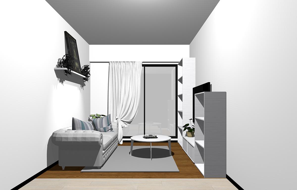 狭い部屋のホワイト&ライトグレーのコーディネート