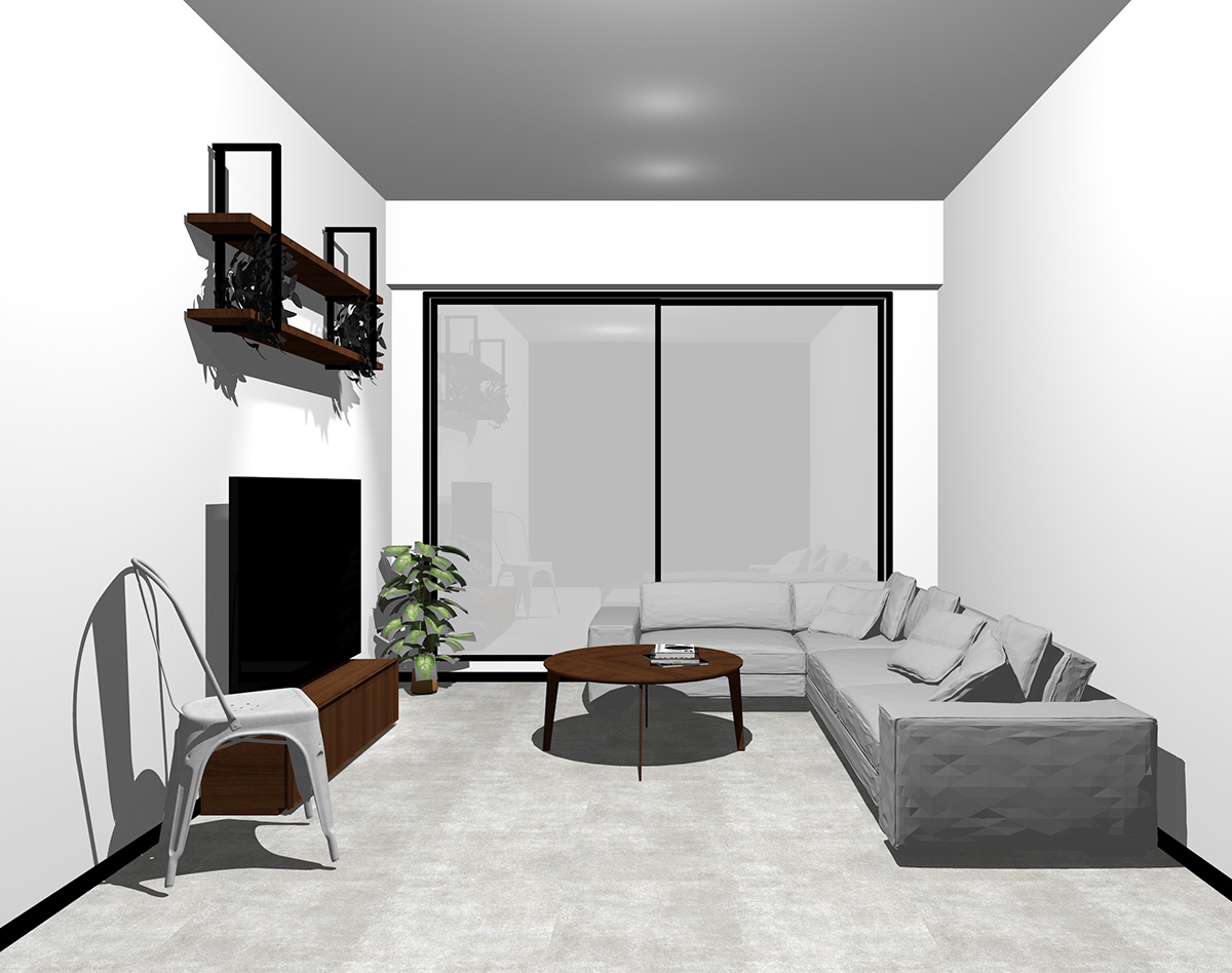 ブラックの窓とコンクリート調の床