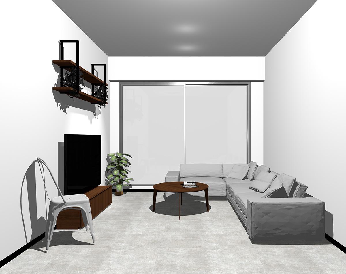 シルバーの窓とコンクリート調の床