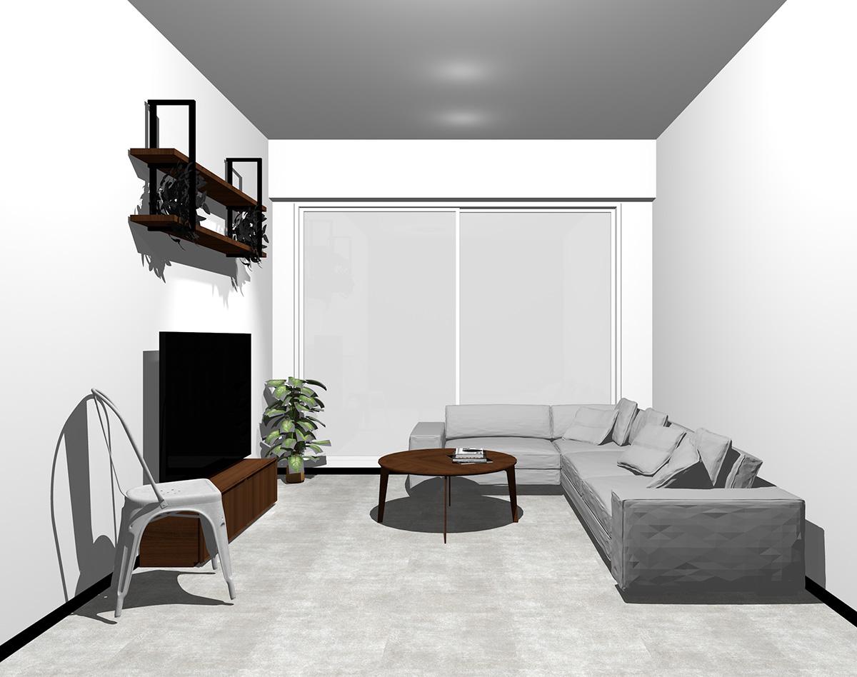ホワイトの窓とコンクリート調の床