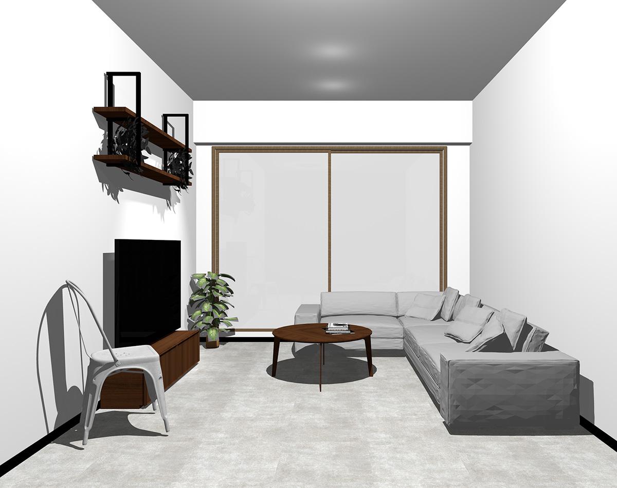 木目調・ブラウンの窓とコンクリート調の床