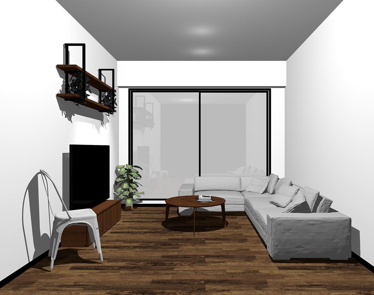 ブラックの窓とダークブラウンの床