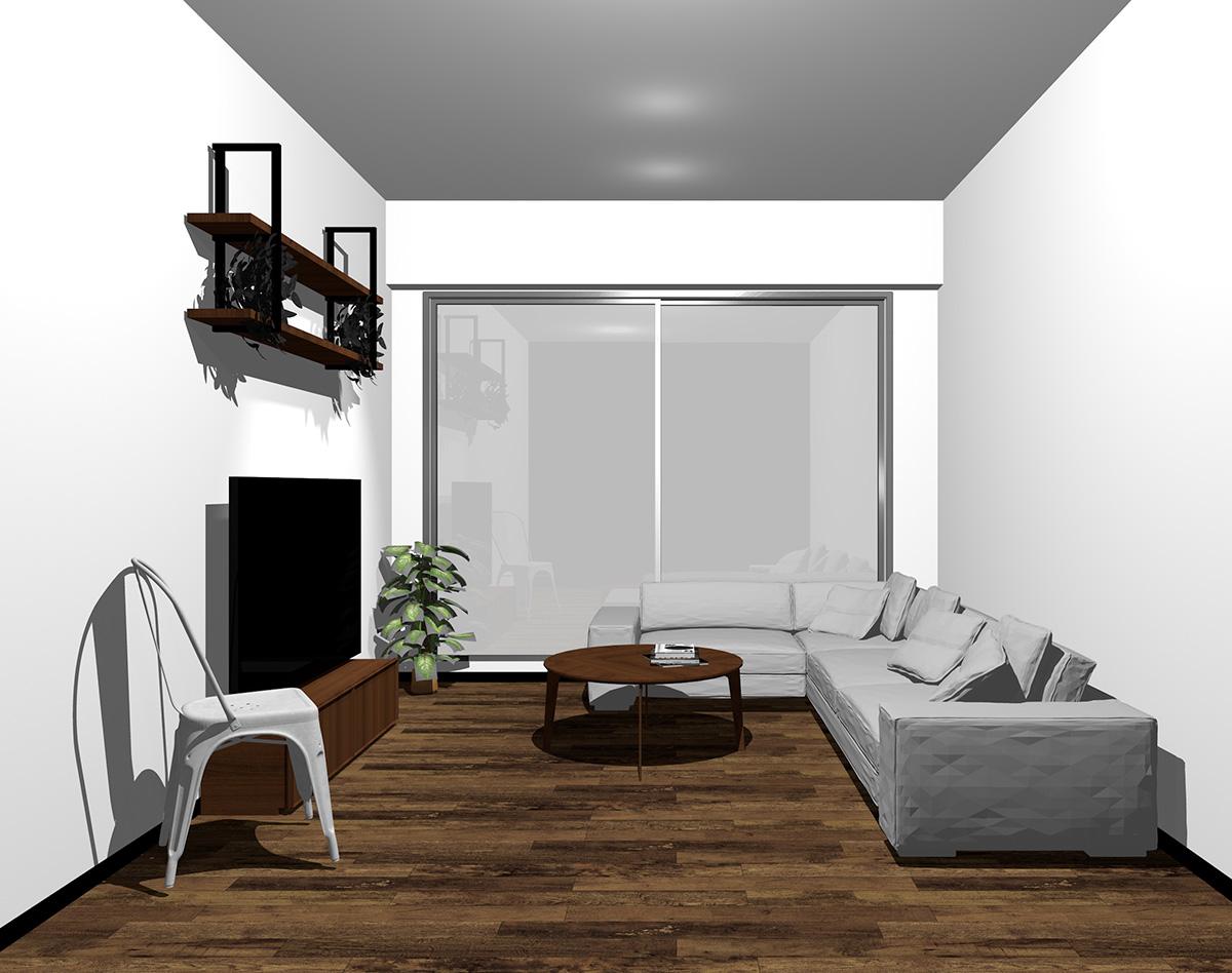 シルバーの窓とダークブラウンの床