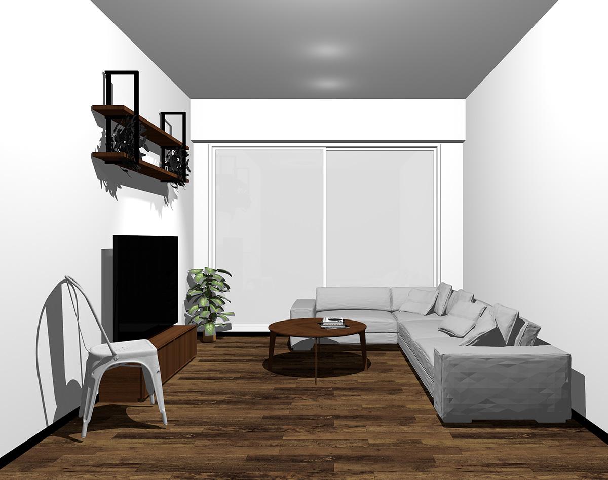 ホワイトの窓とダークブラウンの床