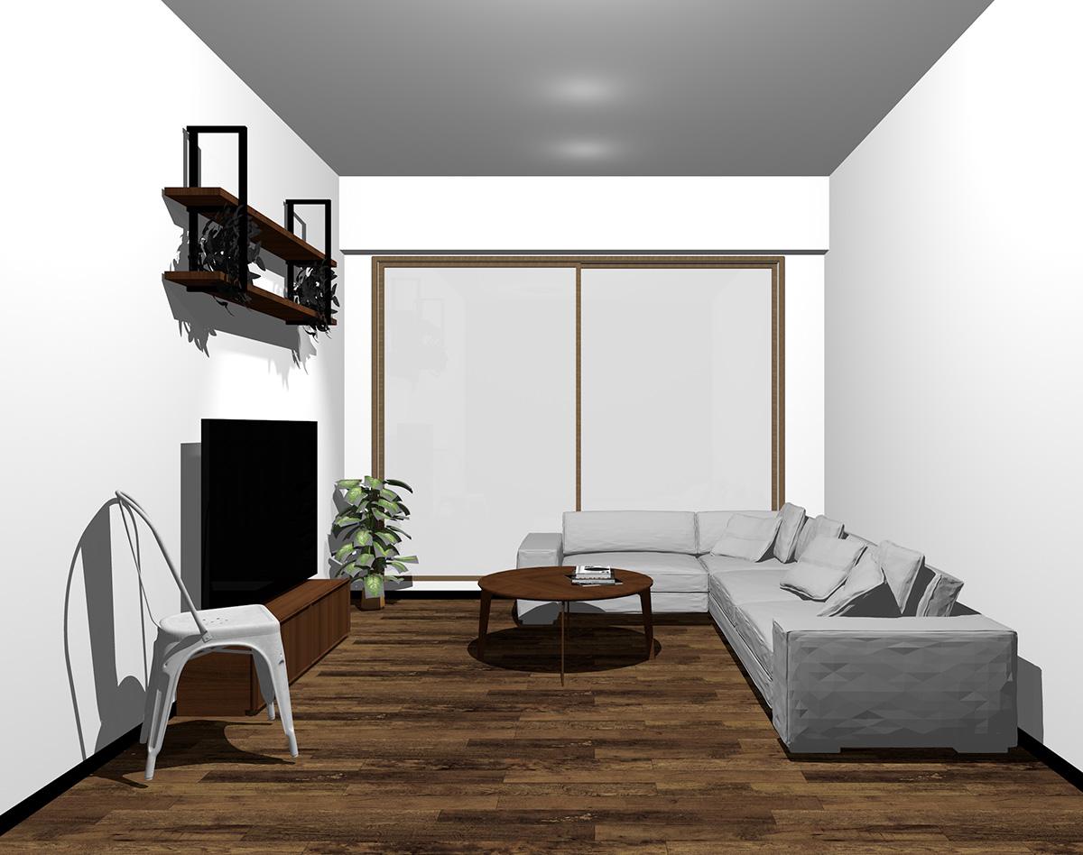 木目調・ブラウンの窓とダークブラウンの床