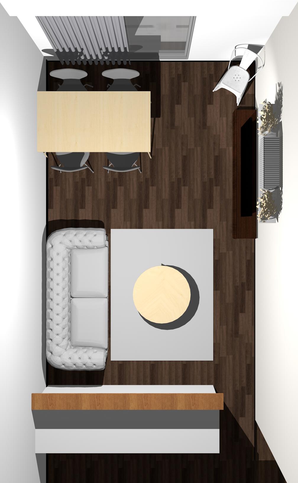 キッチン(対面カウンター)の前がリビング」で「窓の前がダイニング」のレイアウト