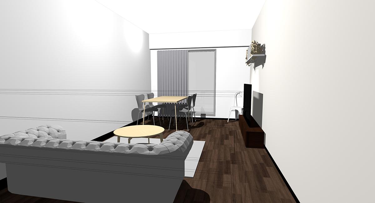 キッチン(対面カウンター)の前がリビング用ソファ」で「窓の前がダイニング」のレイアウト(パース)